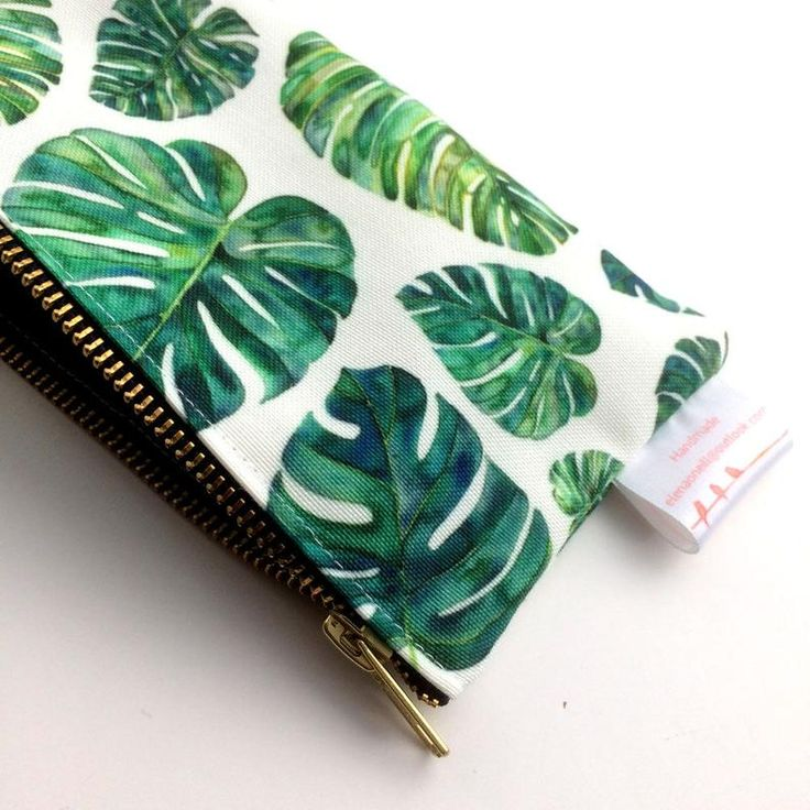 Tropical Leaves Pencil Case Emerald Leaves Cosmetic Bag ...