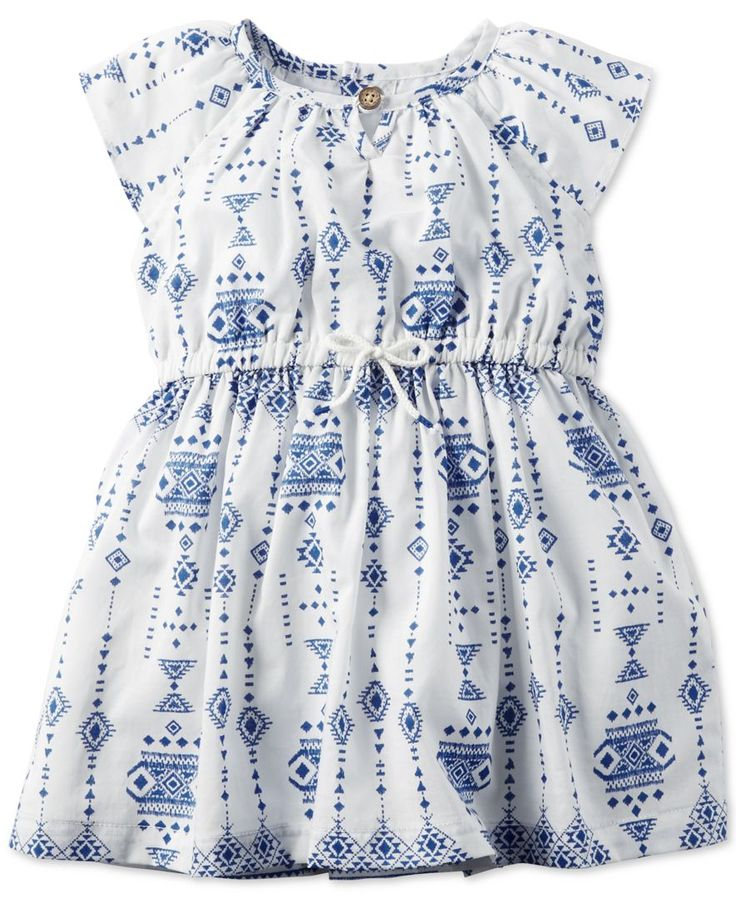 Carter's brings her an adorable addition to her warm-weather wardrobe with this charming printed dress, finished with short flutter sleeves for a fancy finish. | Dress, lining and diaper cover: cotton