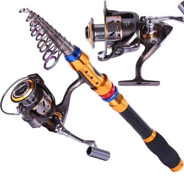 Telescopic Saltwater Freshwater Fishing Rod and Reel Combos Travel Fishing Pole…