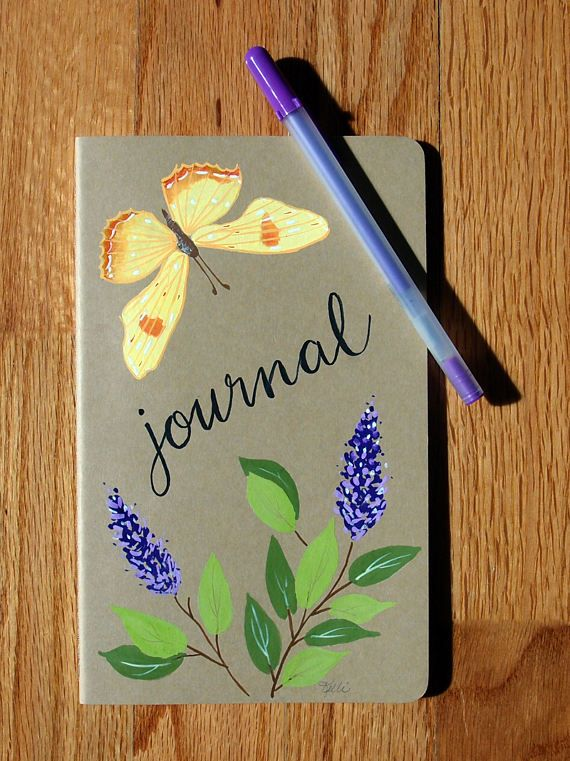 Hand Painted Journal Field Notebook by KelliMcNicholsArt on Etsy