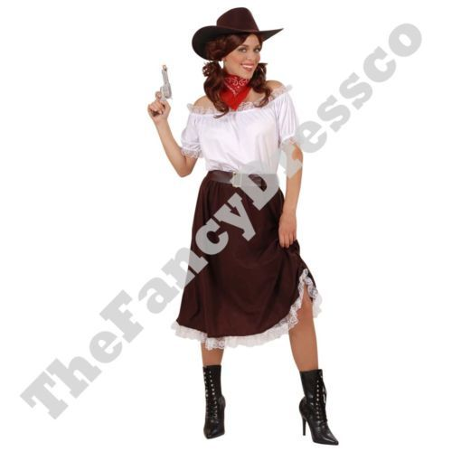 Adult Womens Ladies Cowgirl Fancy Dress Costume Wild West Saloon Western NEW