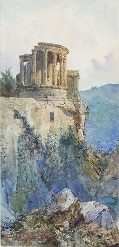 Ettore Roesler Franz (1845 - 1907) Tivoli, Il Tempio della Sibilla