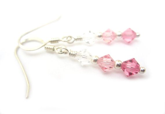 A beautiful trio of graduating pink swarovski crystals makes up these Triple Treat earrings. Paired with the non-allergenic Sterling Silver they are