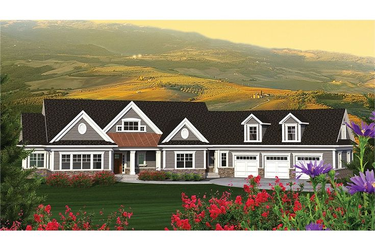 Sprawling ranch with angled garage hwbdo77586 ranch from for Sprawling ranch house plans