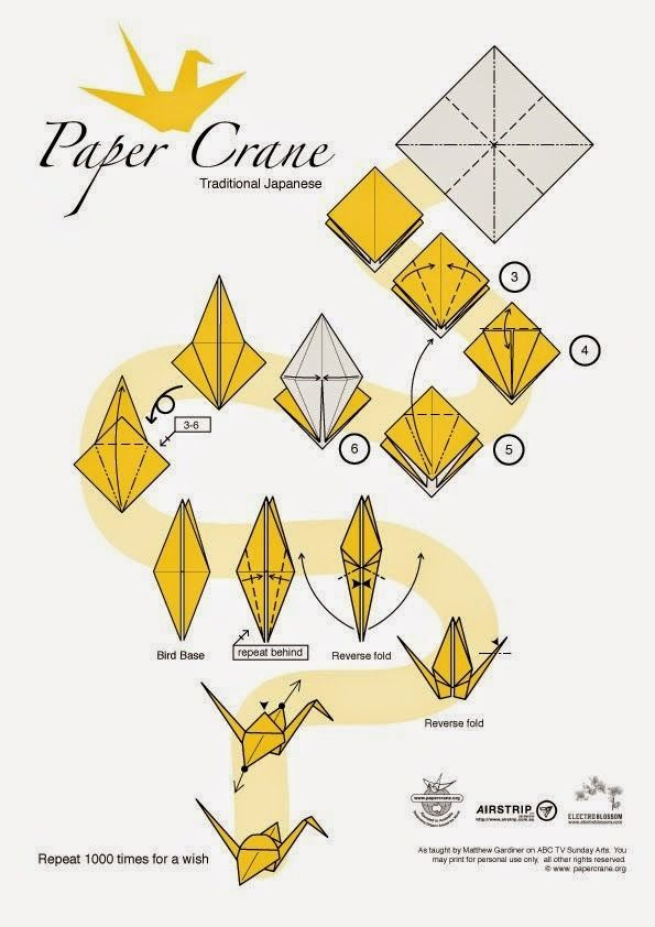 paper crane instructions Begin with a square piece of paper — ideally one side colored and the other plain place the colored side face up on the table in all diagrams, the shaded part.