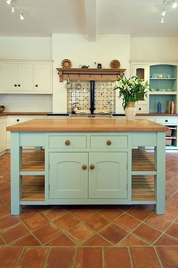 light blue island  Colorful Contrasting Kitchen Islands  Pinterest