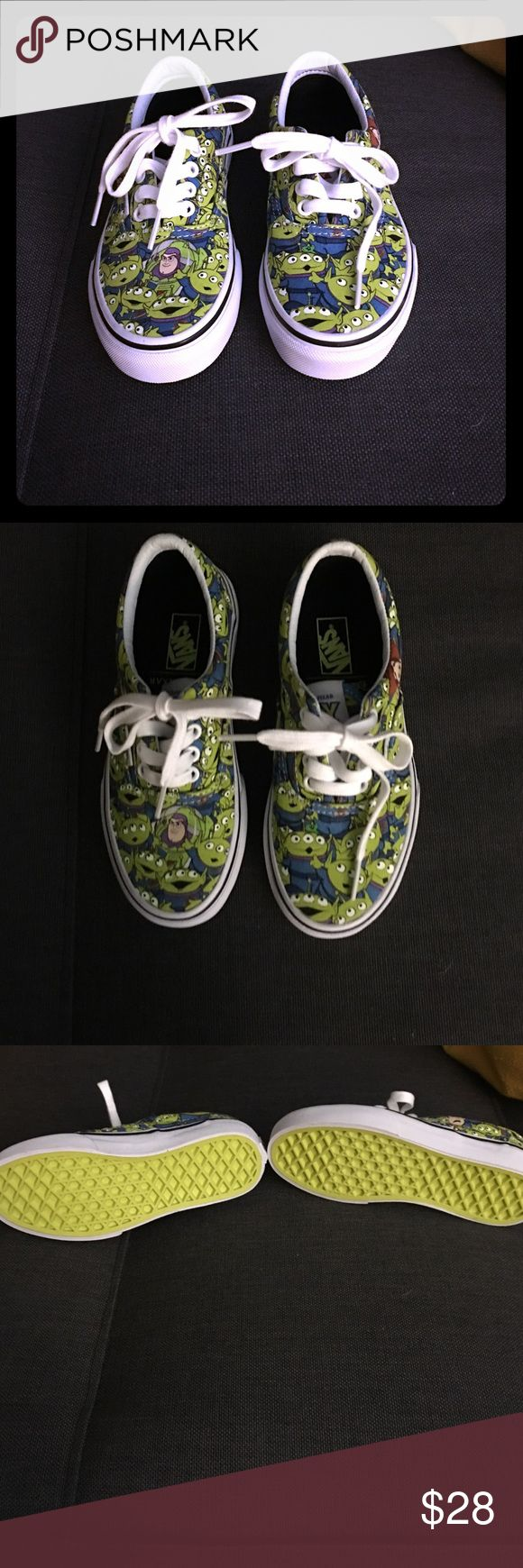 Boys Toy Story Edition Vans size 13. Brand new Toy Story Edition Vans for Boys in a size 13. What a fun sneaker! Aliens actually glow in the dark! Vans Shoes Sneakers
