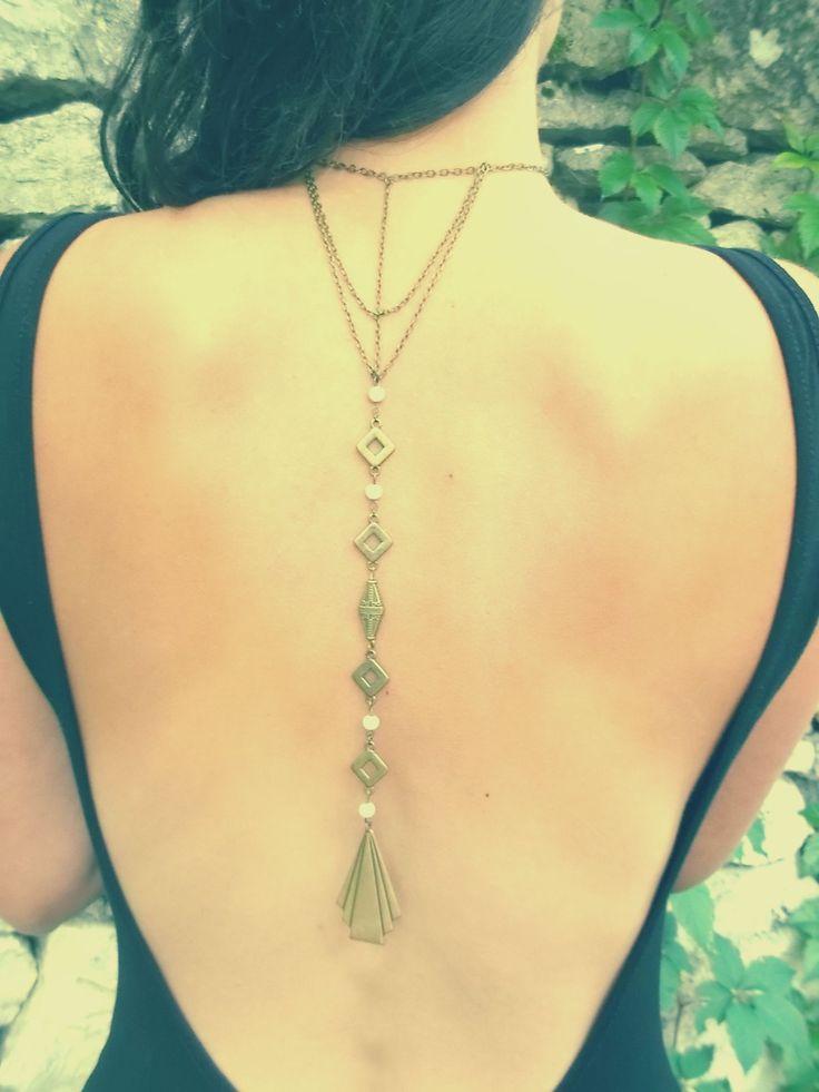 Bijou de Dos °°oO°°Losanges et Perles °°Oo°° Pièce Unique : Autres bijoux par femme-sauvage