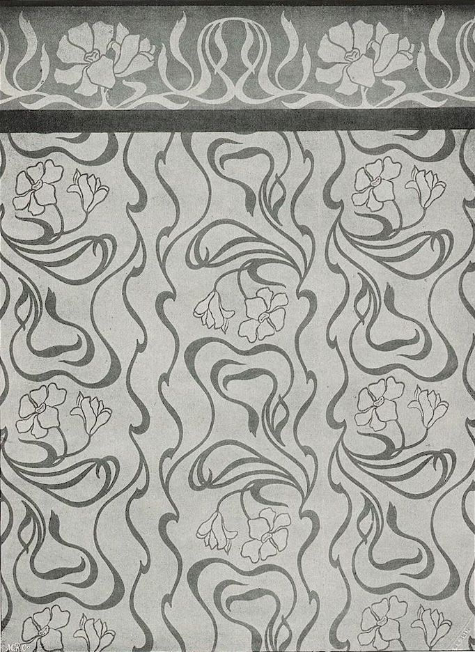 Wallpaper design with frieze by Walter Leistikow, produced in 1899.