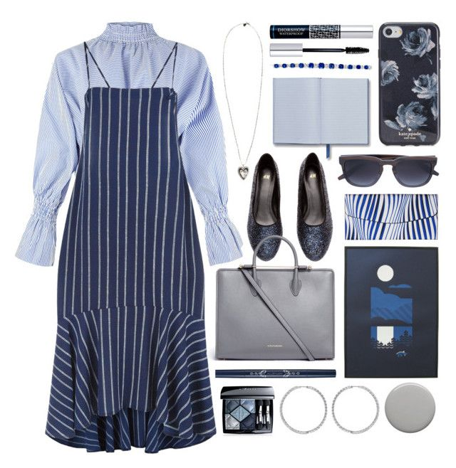 """""""for office"""" by foundlostme ❤ liked on Polyvore featuring H&M, Pink Vanilla, Strathberry, Vera Bradley, Barton Perreira, Christian Dior, Burberry, Kate Spade, Alexander McQueen and stripesonstripes"""