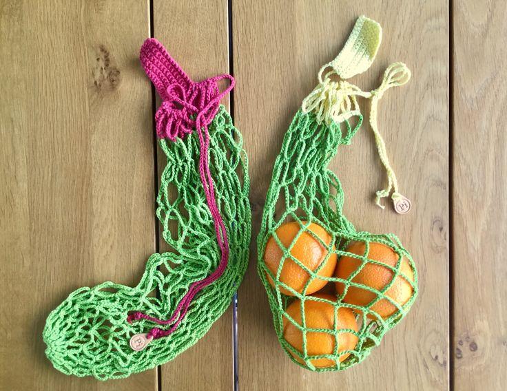 Herbruikbare groenten zak, fruit net met aantrektouwtje, bewaar zak voor in de keuken, gehaakt alternatief voor plastic zak, set van 2 door PiNetjes op Etsy