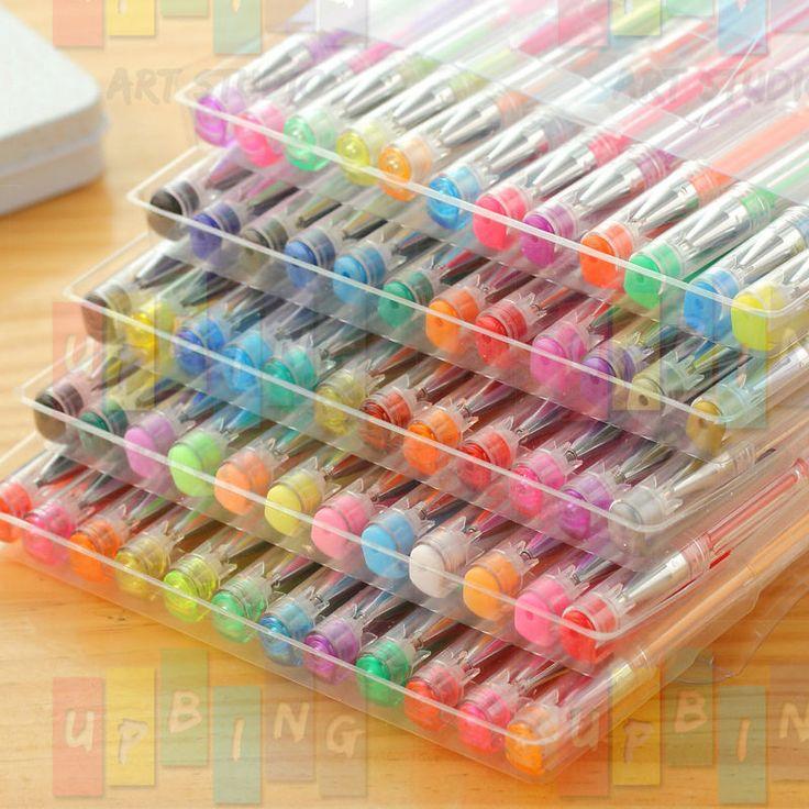 36 48 60 gel pen set glitter neon metallic swirl acid free art scrapbook journal