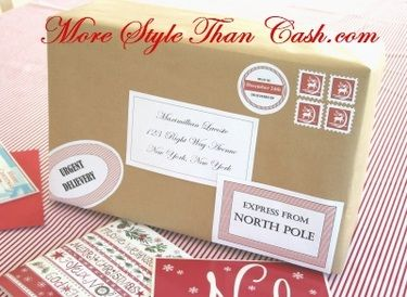 Santa Labels and Stamps from the North Pole - Free Printables - this is how our elf on the shelf should arrive!!!
