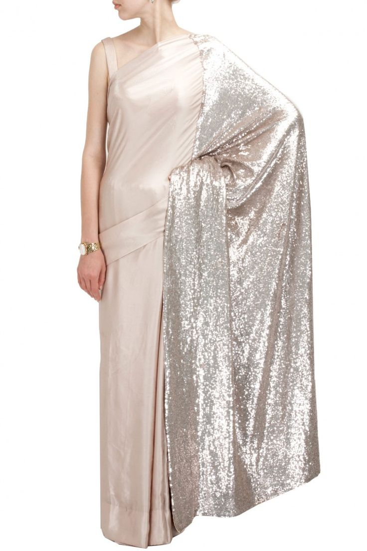 Taupe borderless sari with sequin sheeted pallu by SAILEX