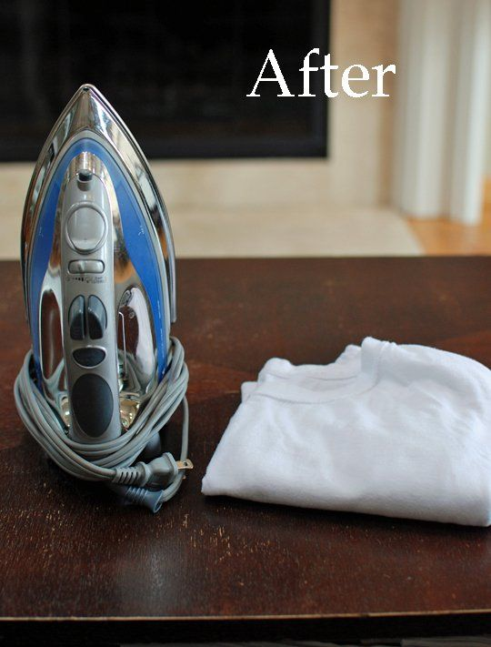 It Works! Before & After of Using an Iron to Remove Water Rings from Furniture | Apartment Therapy