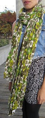 Oversized And Lightweight Green Floral Scarf by EarthyEcoStyle, $15.00