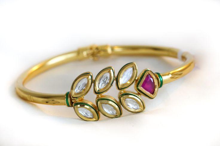 Ethnic Kundan Bracelet Bangle Gold Plated by JhumkaJunction