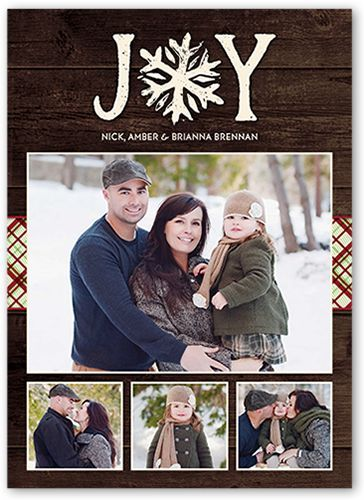 Enchanting Joyous Snowflake Christmas Card, Square Corners, Brown