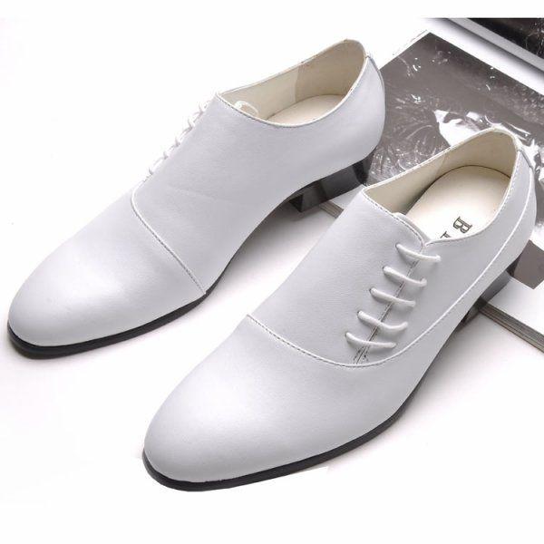 Modern Mens Wedding Shoes In White Full Cover 31 Oni