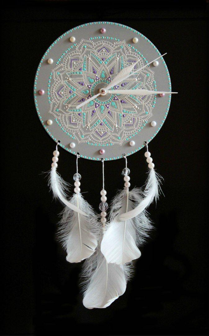 Часы на виниле - Белый Ловец Снов диаметр винила - 17 см, кварцевый механизм бесшумного хода