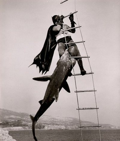 Shark attacks Batman. (awesome scene from Batman the movie from the 1960's)