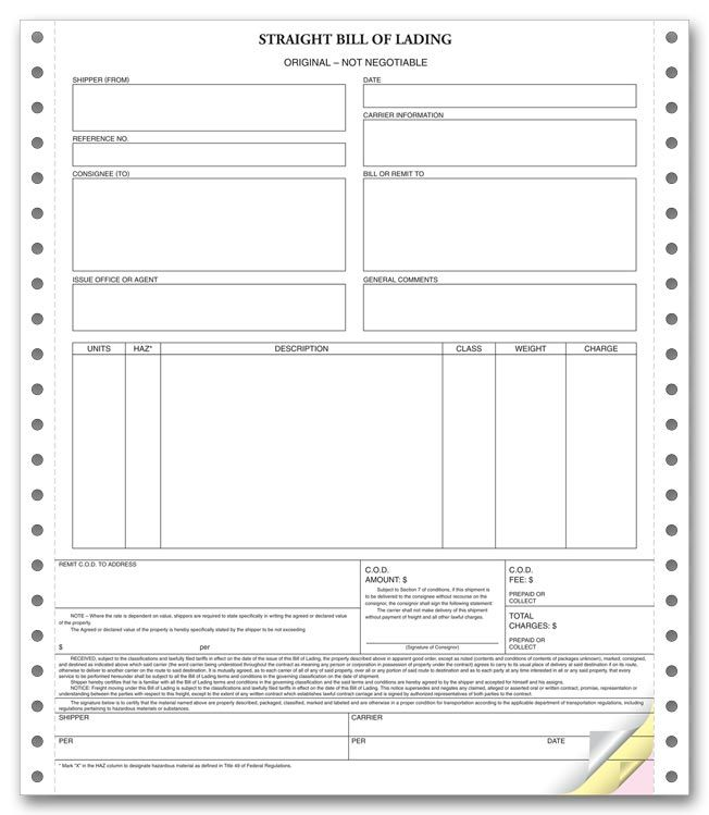 Printable Sample Blank Bill Of Lading Form Generic Bol Real Estate