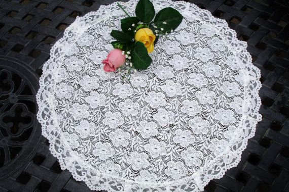 Centerpiece White Lace Doily 1970s  vintage table linens
