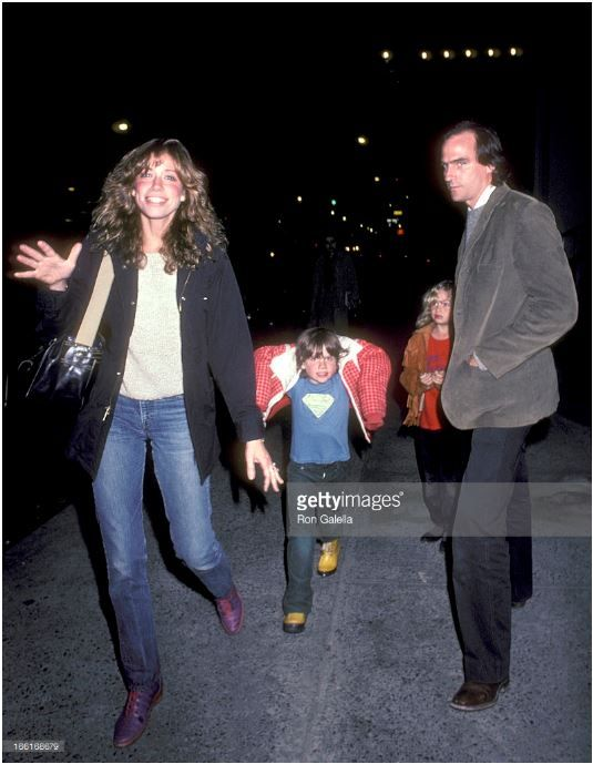 Carly Simon and James Taylor with their children, Ben and Sarah (Sally). November 1980