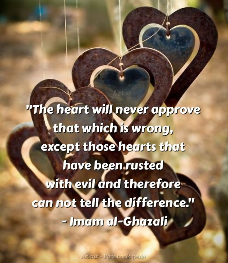 """The heart will never approve that which is wrong, except those hearts that have been rusted with evil and therefore can not tell the difference.""  - Imam al-Ghazali"