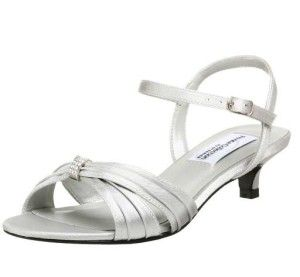 Silver Cute Low Heel Wide Width Mother Of The Bride Shoes