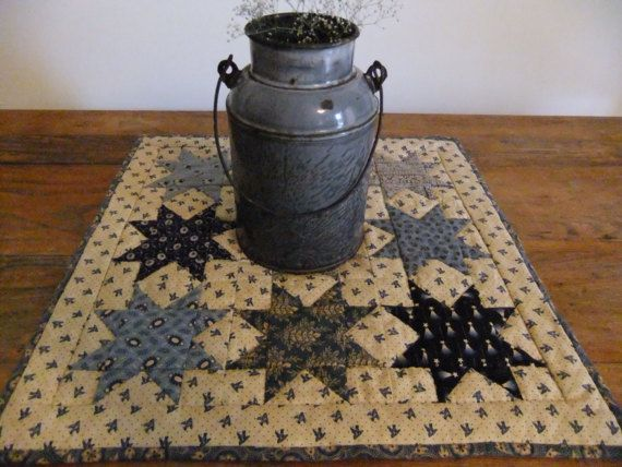 Blue Star Quilted Table TopperWall Hanging by TreasuredPrimitives, $50.00