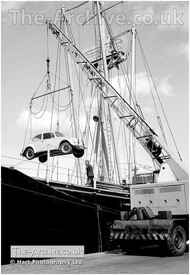 An image of new Volkswagen VW Beetles being unloaded from a ship at Ramsgate…