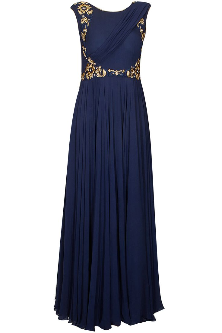 Blue and gold dabka embroidered draped anarkali suit available only at Pernia's Pop Up Shop.