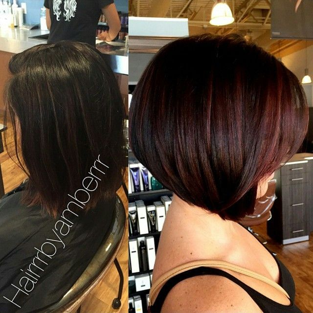 My Before After Short Inverted Bob With Red Highlights