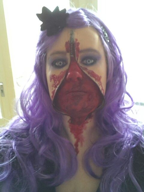 First try zipperface ....I loved walking around all day like this  #carnaval  #Sjtasiefestasie #halloween #SFXmakeup