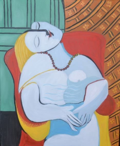 women in a red armchair (Picasso), oil on canvas by Justyna Molendowska-Ruiz