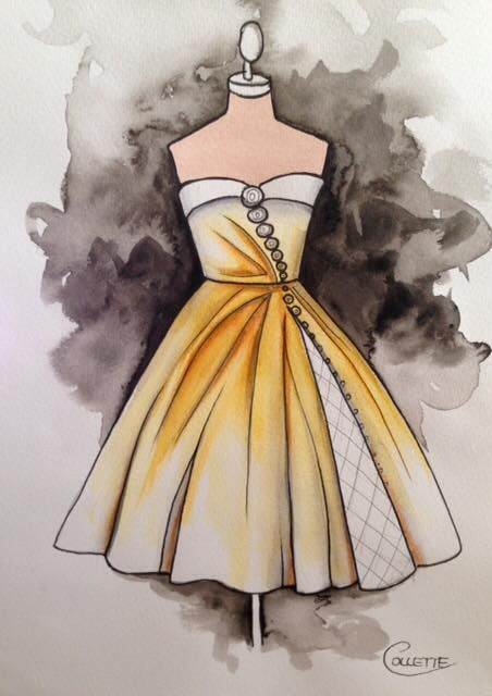 Loving this strapless ball gown in egg yolk yellow, I imagine it in a stiff taffeta with an insert in a white sheer fabric and layers. And layers of petticoats, the buttons would be faux and go from large to tiny as they head down the bodice to the skirt hem. Watercolour by Collette Fergus