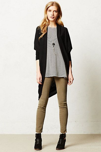 Shop this look on Lookastic:  http://lookastic.com/women/looks/ankle-boots-skinny-jeans-open-cardigan-pendant-crew-neck-t-shirt/6444  — Black Cutout Suede Ankle Boots  — Brown Skinny Jeans  — Black Open Cardigan  — Black Pendant  — Black and White Horizontal Striped Crew-neck T-shirt