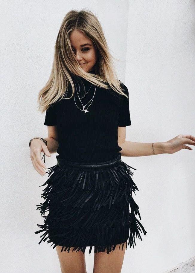 black fringes mini skirt #fringes