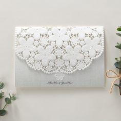 White Lace wedding invitations Embossed laser cut floral - BH 6001 | ItsInvitation