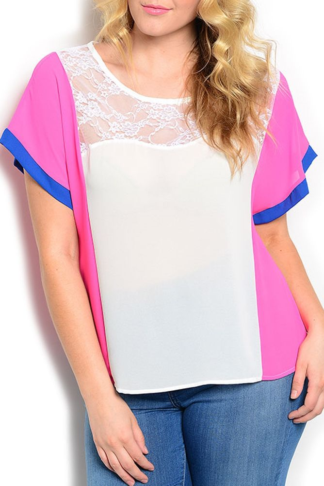 Plus Size Color Blocking | Ivory Pink Plus Size Sexy Sheer Lace Color Block Chiffon Top – 3X ...