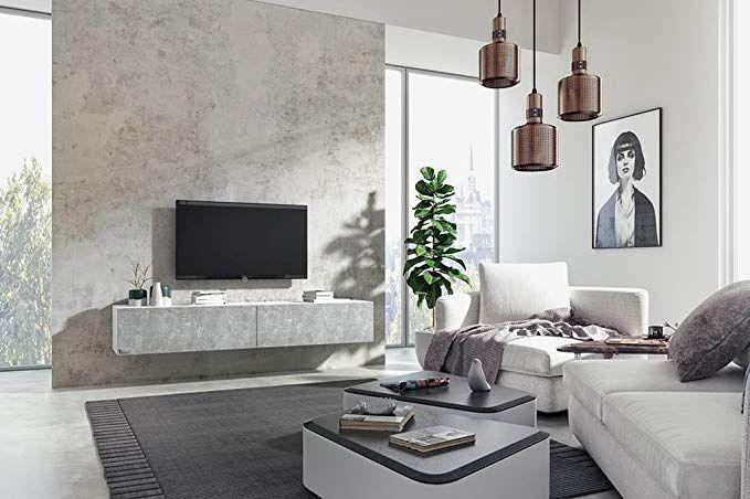 Wuun Tv Board Hangend 8 Grossen 5 Farben 100cm Matt Weiss Beton