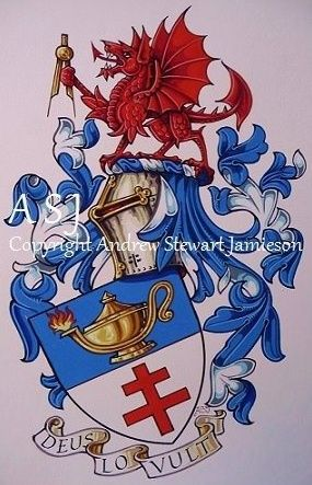 The Armorial Bearings of Doug Welsh this is original hand drawn and painted artwork created by British Artist and Designer Andrew Stewart Jamieson and is fully copyrighted.  No portion of this can be used to create another piece of artwork.  Do not copy, trace or digitally manipulate.  (heraldry, heraldic art, heraldic artists, coats of arms, fine art, The Jamieson Family)
