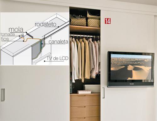 Um esquema mostrando como fazer a instalação de um TV na porta do guarda-roupas.