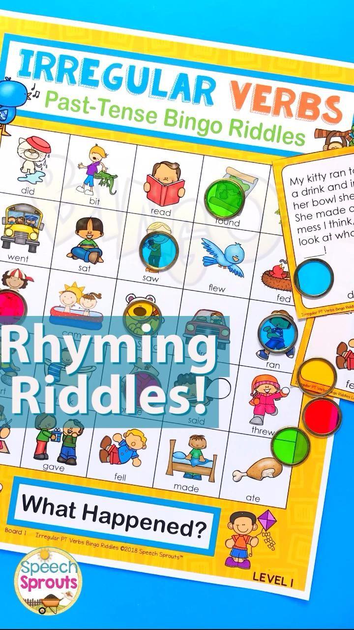 Irregular Verbs Bingo Riddles Level 1 By Speech Sprouts Teachers Pay Teachers Video Parts Of Speech Activities Irregular Past Tense Verbs Fun Grammar Activities [ 1280 x 720 Pixel ]