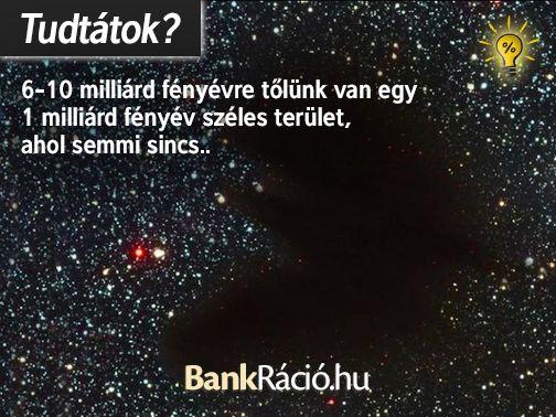 6-10 milliárd fényévre tőlünk van egy 1 milliárd fényév széles terület, ahol semmi sincs. Forrás: http://en.wikipedia.org/wiki/Eridanus_Supervoid