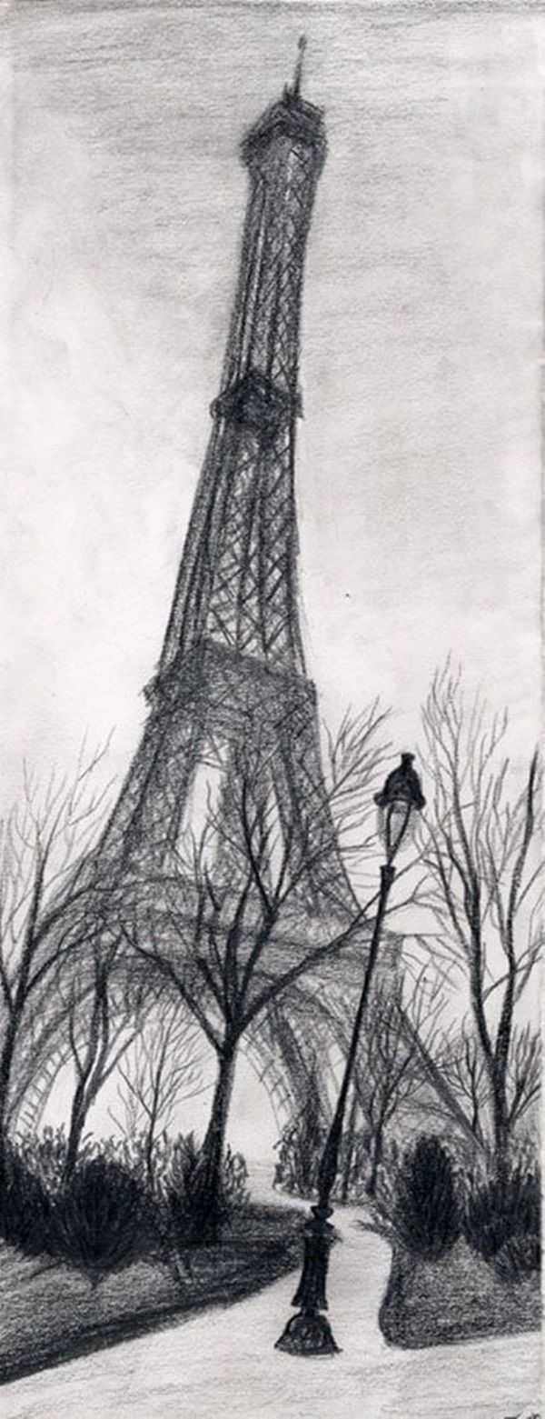 Door pencil drawing - 45 Easy And Beautiful Eiffel Tower Drawing And Sketches