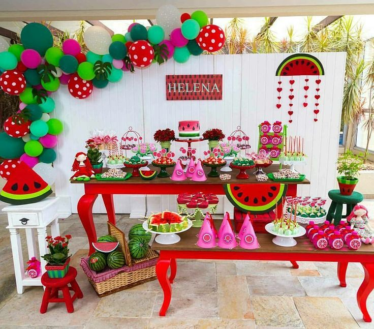 Christmas 1st Birthday Party Ideas Part - 18: Watermelon Party. I Love It! Watermelon BirthdayPicnicsWatermelon Party  DecorationsBirthday ...