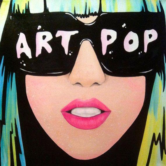 Lady Gaga ART POP  12x12 Handpainted Acrylic on by HausOfBones, $50.00