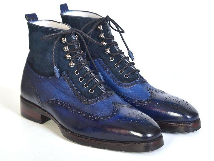 Paul Parkman Men's Wingtip Boots Blue Suede & Leather Shoes